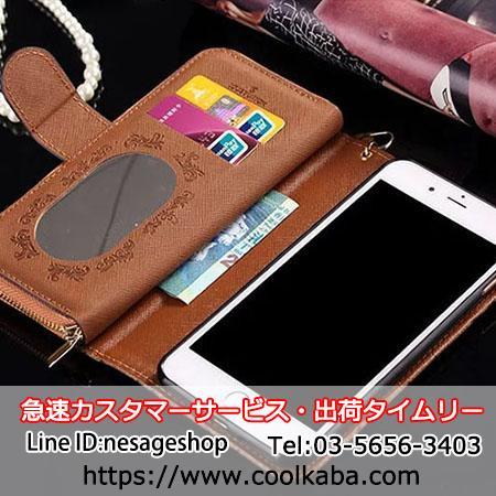 アイフォン 8 プラス カバー 財布型 ミラー付き