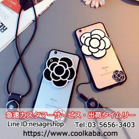 椿花柄 シャネル アイホンX/8携帯カバー