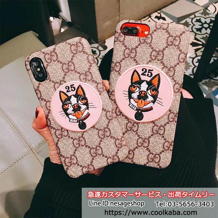 iPhoneX 犬ケースグッチ